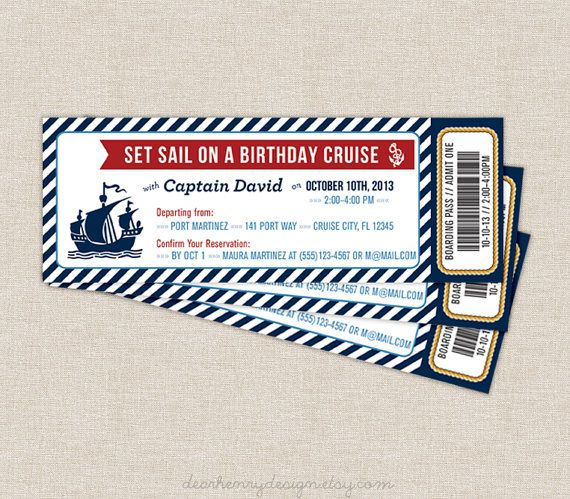 Nautical Boarding Pass Invitation, Nautical Cruise Ticket, Nautical Birthday Party, PRINTABLE INVITE, Printing Available, Boy Birthday Girl on Etsy, $12.00