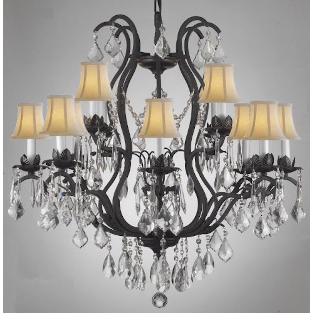 Charles Serouya Son Versailles 12 Light Black Wrought Iron And