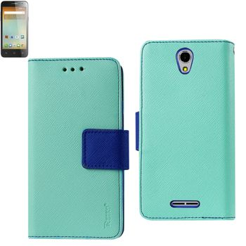 Reiko Wallet Case 3 In 1 For Alcatel Onetouch Elevate Green With Interior Leather-Like Material & Polymer Cover