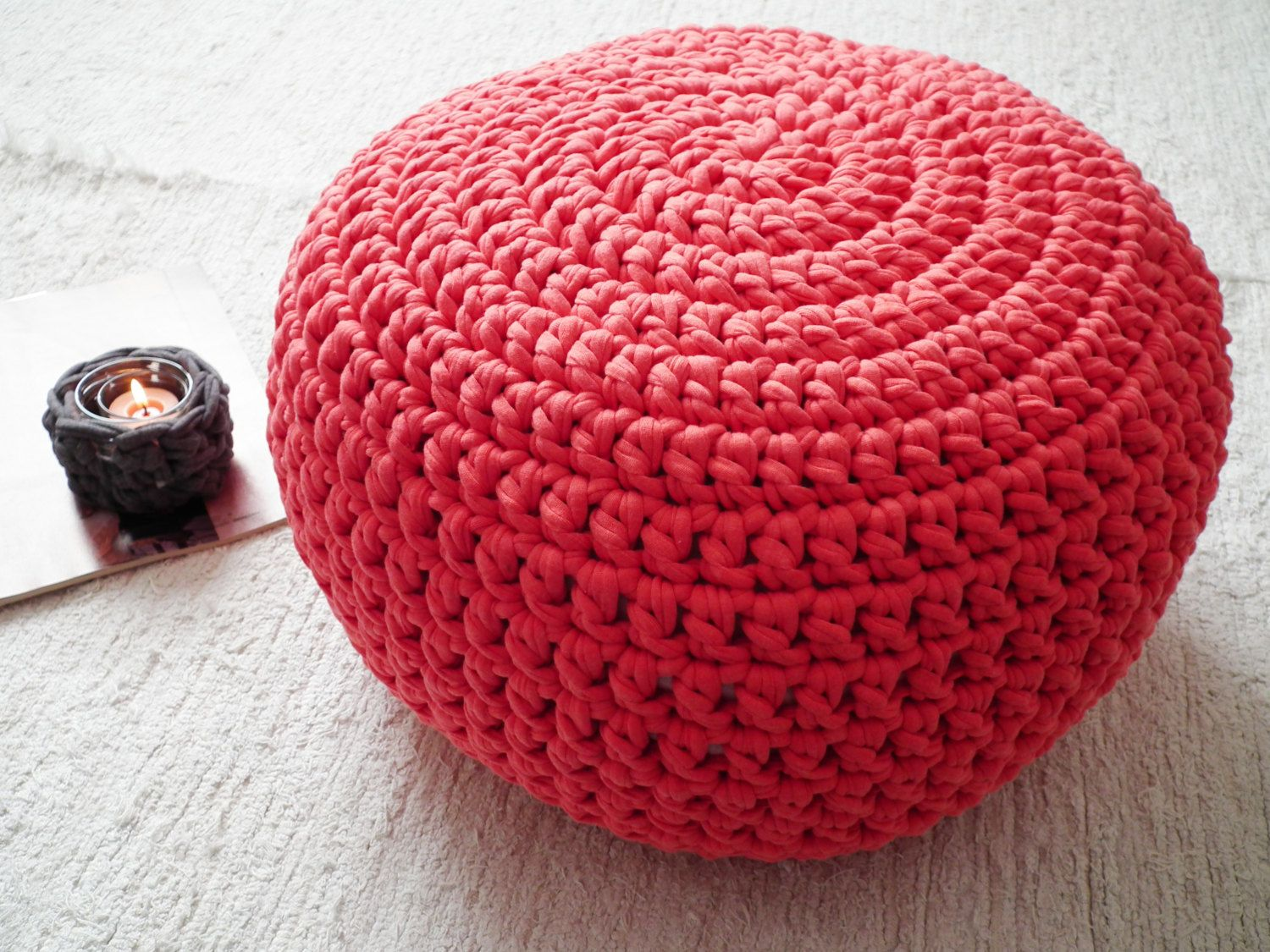 Raspberry Ottoman Pouf-Watermelon Nursery Foot Stool Pouffe- Nursery ...