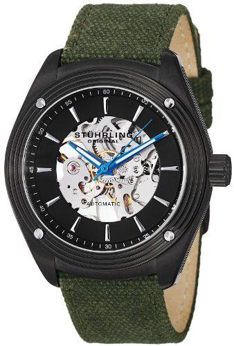 Stuhrling Original Men's 8209C.335OD1 Leisure Millennia Venture Automatic Skeleton Green Canvas Strap Watch | Skeleton watches. Men. Skeleton