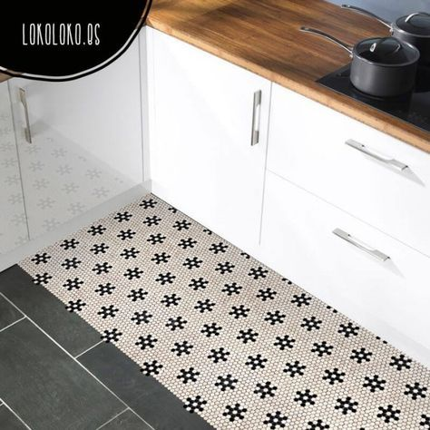 Suelo de mosaico de estrellas negras suelos de cocina - Vinilos suelo cocina ...