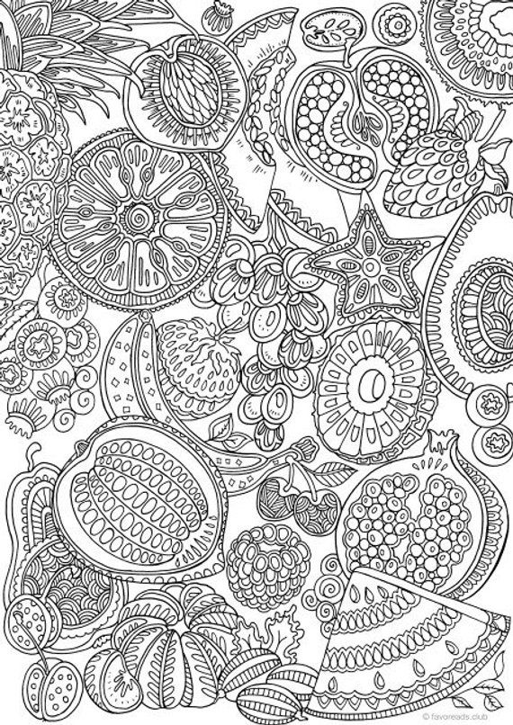 Fruits Printable Adult Coloring Page From Favoreads