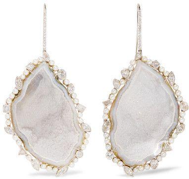 18 Quilates De Oro Ennegrecidas, Diamante Y Geode Aros Blancos - Un Tamaño Mcdonald Kimberly