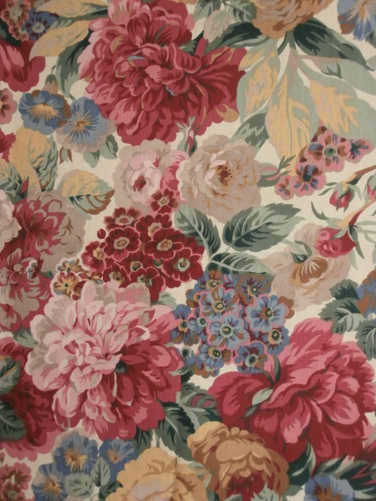Vintage Sanderson Floral Fabric Peony Roses 244 X 142 Cm
