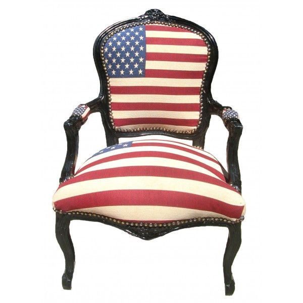 French Louis XVI Armchair Upholstered In American Flag Affordable Luxury |  EBay · Baroque FurnitureFunky ...