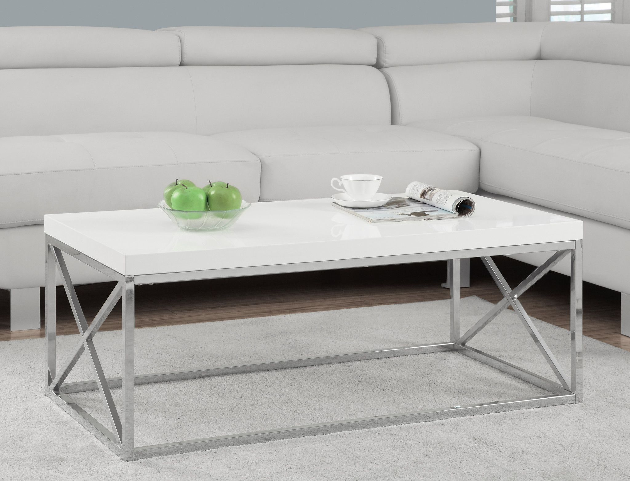 Coffee Table Glossy White With Chrome Metal Living Room Coffee Table Coffee Table Cool Coffee Tables [ 1565 x 2048 Pixel ]