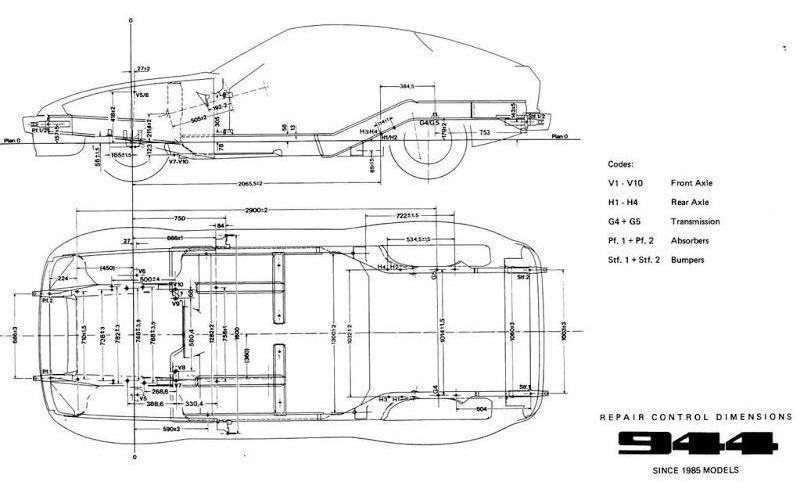 Porsche 944 Chassis Repair Control Dimensions Porsche 944 Porsche 924 Porsche