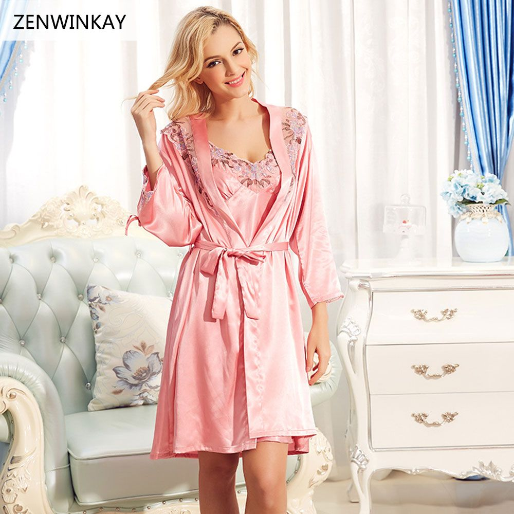4079f8cc96 2017 Spring Summer Long Satin Nightgowns for Women Nightwear Robe Sets Sexy  Sleepwear for Plus Size Nightdress Robe Set XL XXL