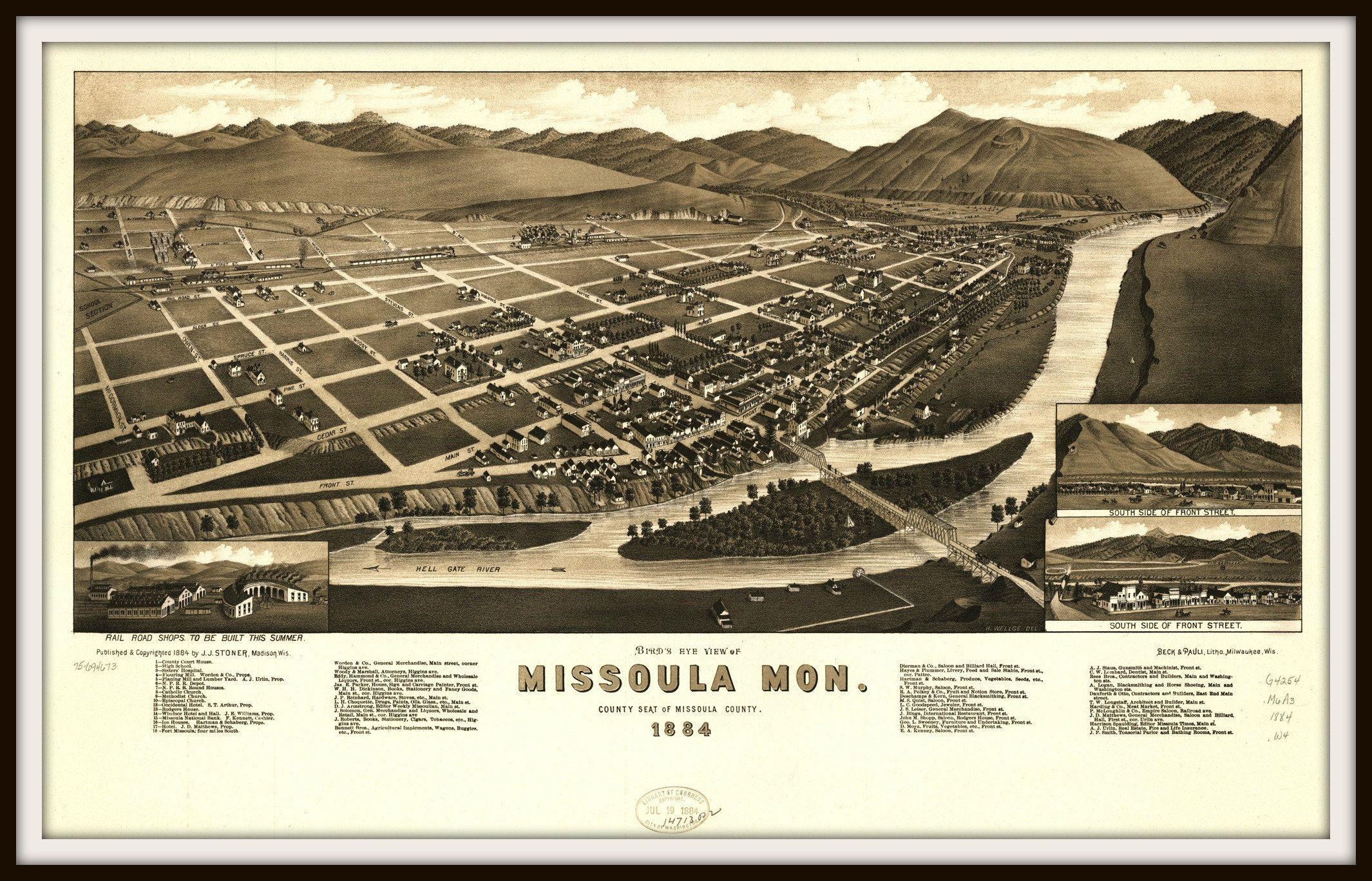 1884 Missoula Montana Vintage Old Panoramic City Map 16x24