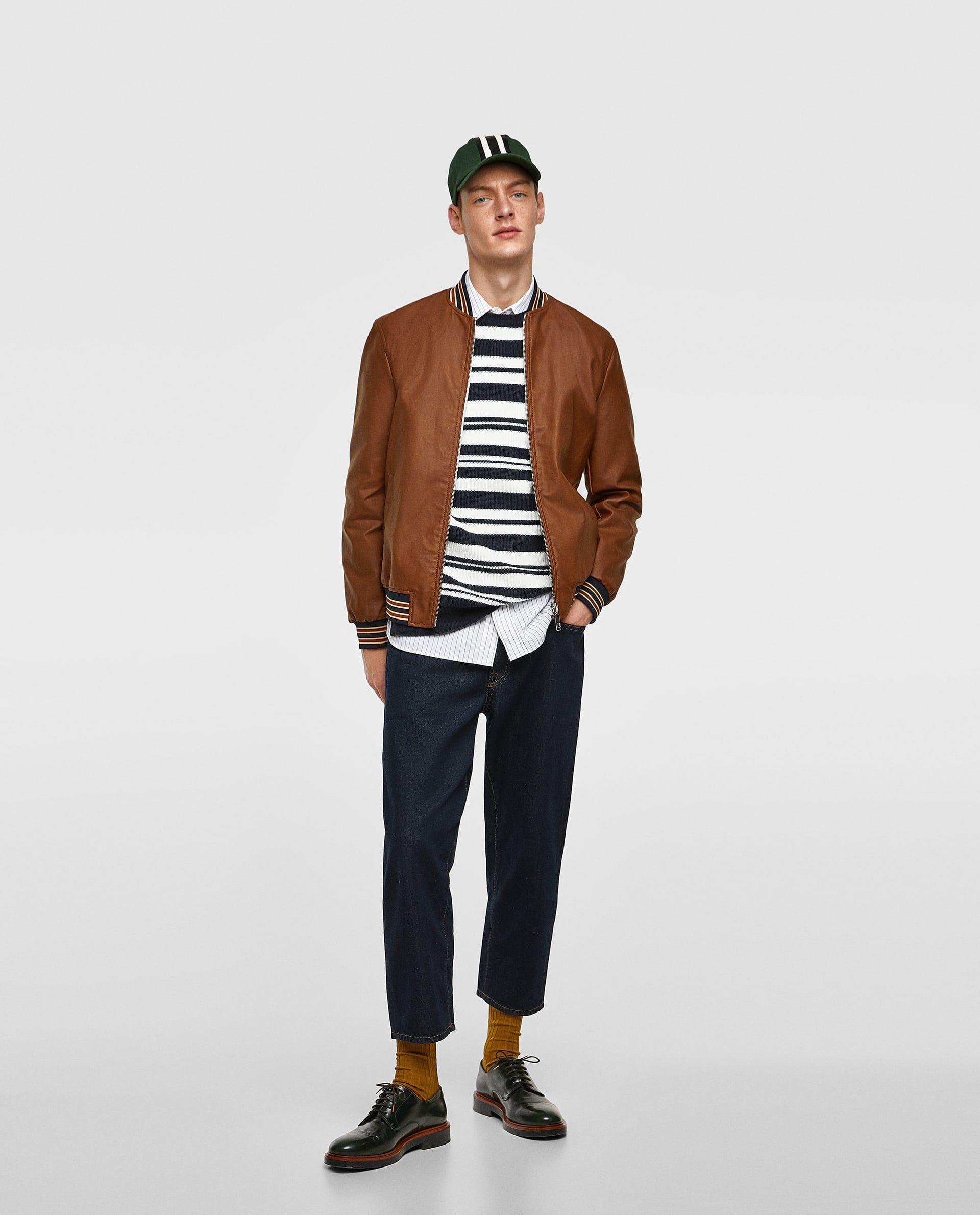 Image 1 of FAUX LEATHER BOMBER JACKET WITH RIBBED TRIMS