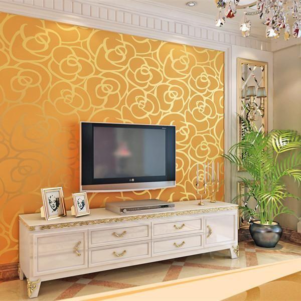 Flocking Textured Classic Modern Wallpaper WP28 Wall