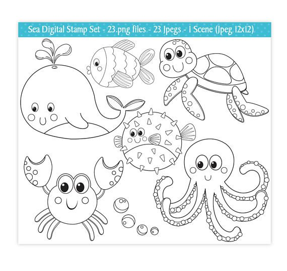 Sea Animals Digital Stamps Under The Sea Stamps Digital Stamps Ocean Stamps Sea Animals Clipart Cute Sea Animals Commercial Use S21 In 2021 Digital Stamps Sea Animals Coloring Pages