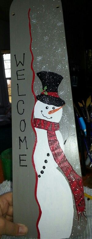Hand Painted Snowman Fan Blade Christmas Painted Fan