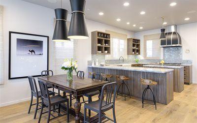 Scarica sfondi mobili per cucina, tavolo in legno, interno di ...