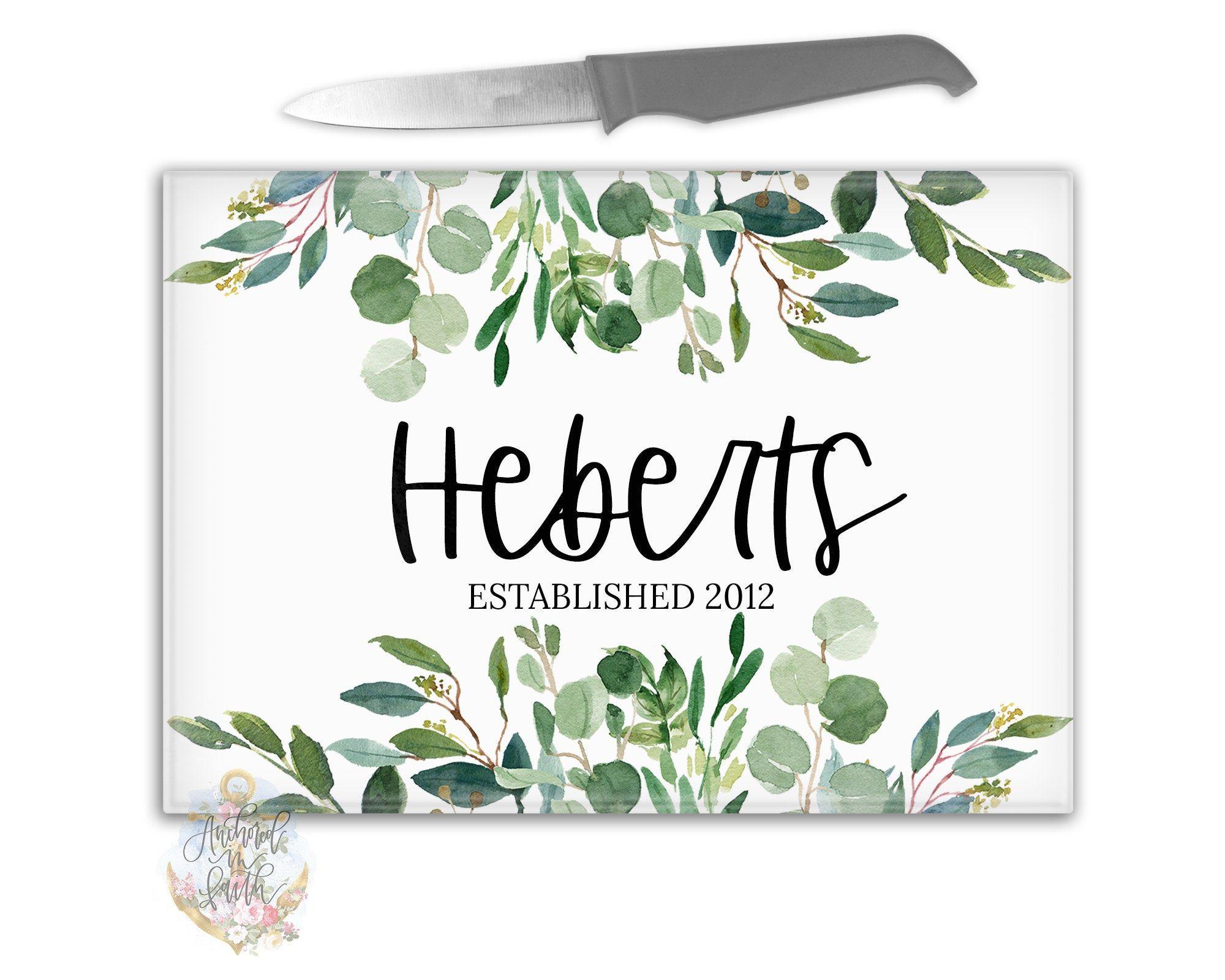 Photo of Personalized Cutting Board, Custom Cutting Board, Eucalyptus Wreath, Monogram Cutting Board, Custom Glass Cutting Board, Wedding Gift Ideas