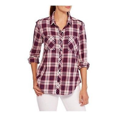 Faded Glory Women's Button Front Plaid Shirt W/Roll Cuff Detail, Red/Blue, XXL