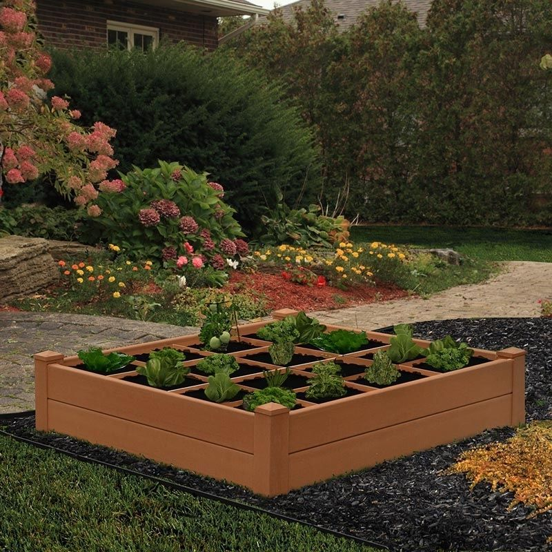 New England Arbors 120 X 120 Cm Composite Garden Bed With Grogrid Classic Look With Images Garden Beds