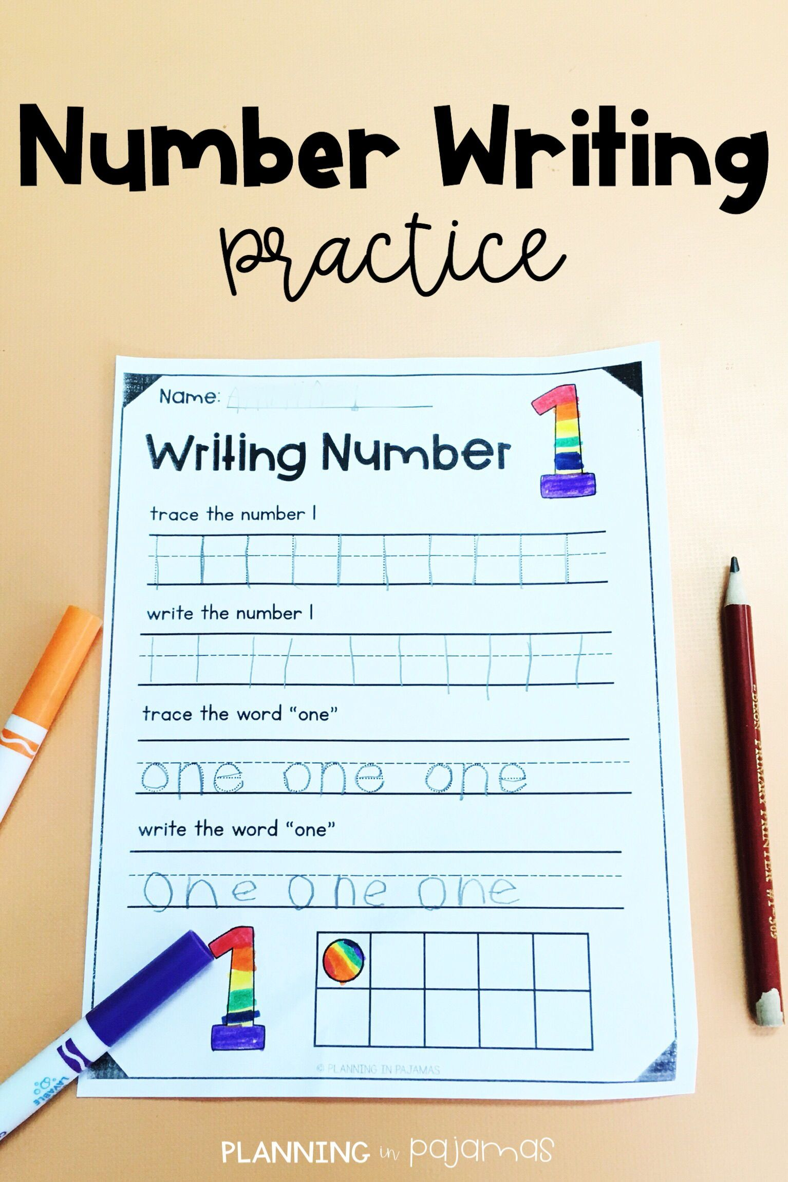 Number Writing Practice 1 10