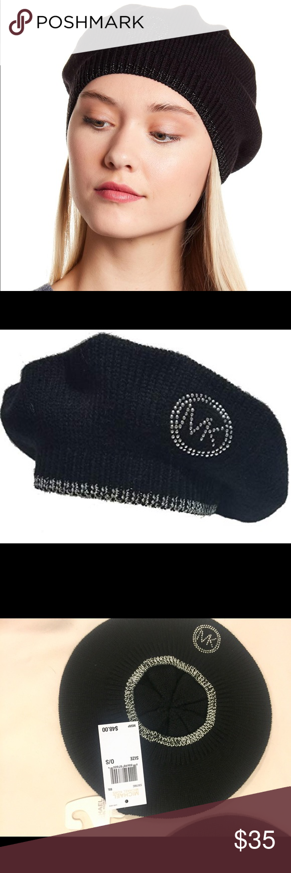 be6064295bb7f MK Logo Studded Beret Black Silver Hat brand new with tag