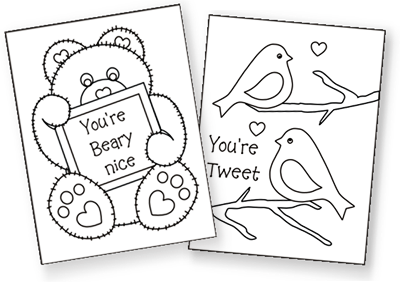 Free printable Valentine's cards to color! Very cute
