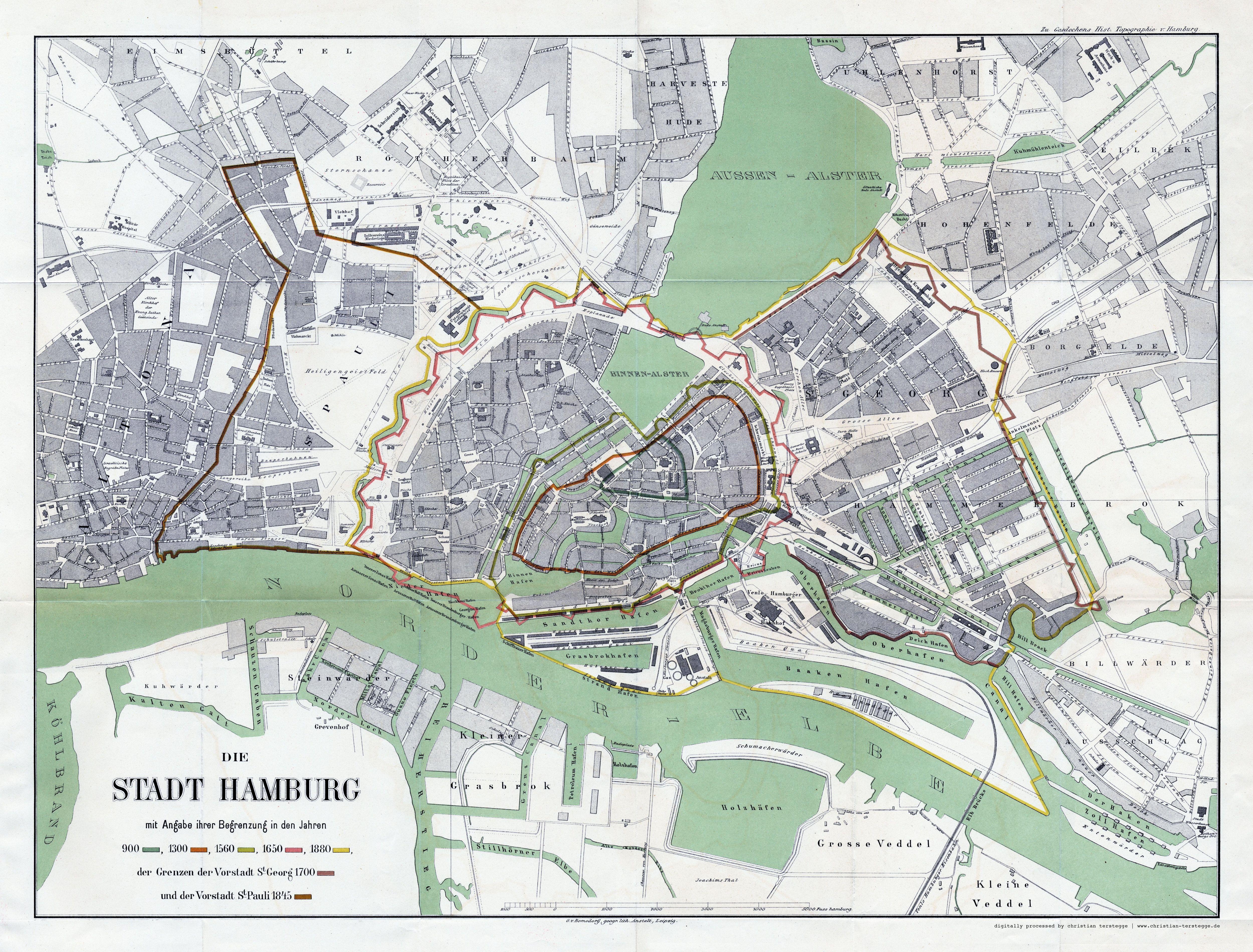 Karte Hamburg 1880 Aus C F Gaedechens Historische Topographie