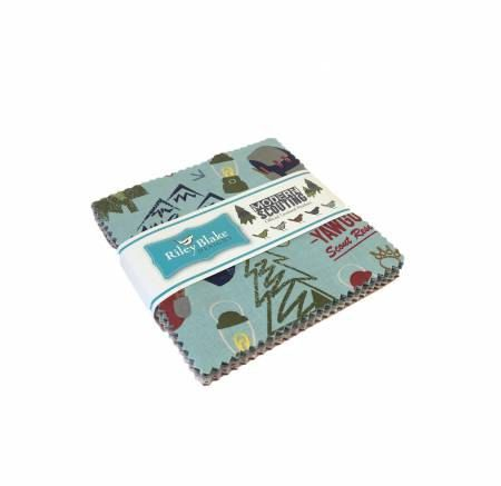 Modern Scouting 5 Inch Squares Charm Pack Riley Blake Designs, Modern Scouting Boys of America Collection 42 Pieces, 100% Cotton