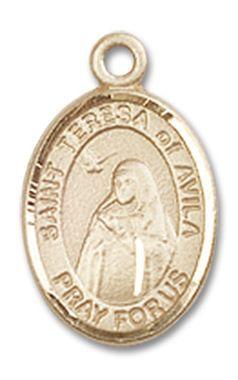 St. Teresa Avila Patron Saint Medal (14kt Yellow Gold) (Charm-size)