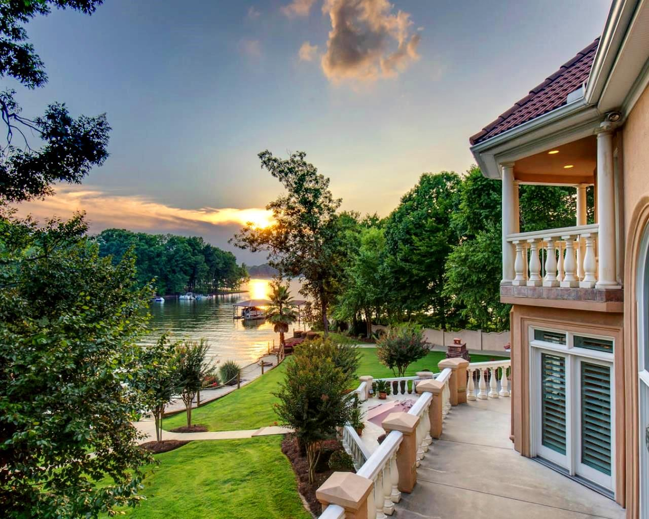 this backyard looks so peaceful in mooresville nc luxury homes