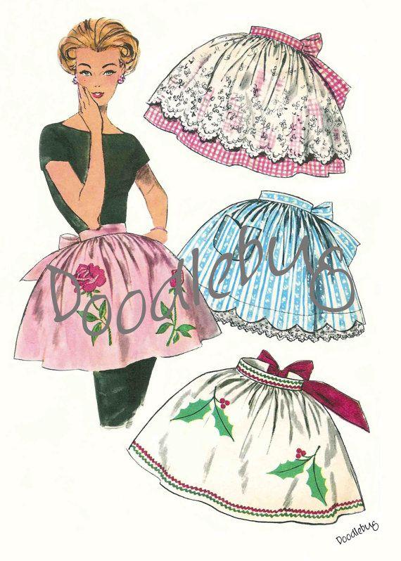 Vintage 1950\'S Apron Pattern Picture Art Print for Digital Download ...