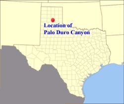 Palo Duro Canyon Texas Map Palo Duro Canyon State Park Hiking Map | map showing location of