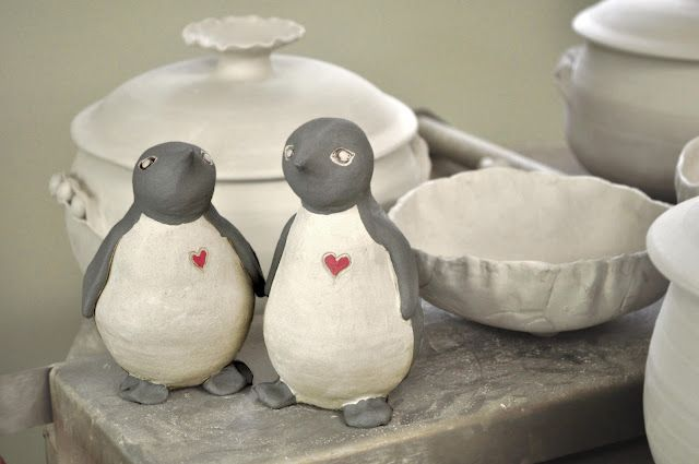 Penguin Cake Toppers, ceramic work in progress from Lee Wolfe Pottery
