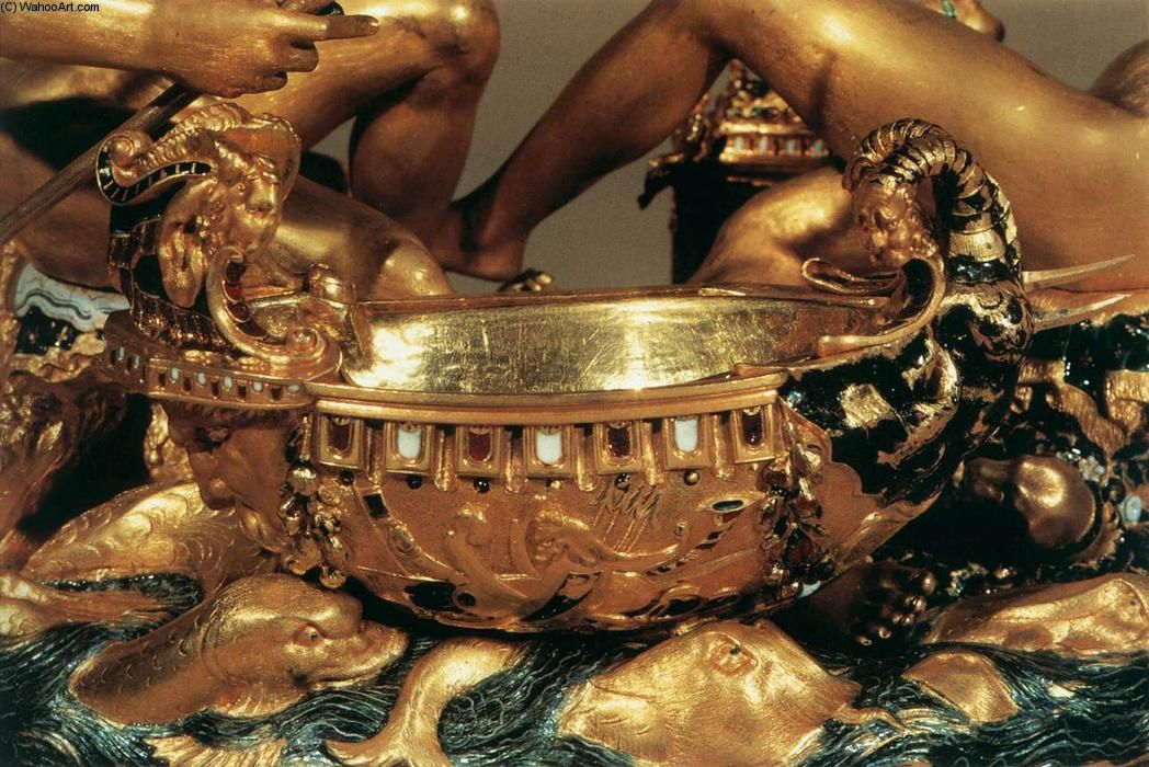 Salt Cellar (detail) (3), Gold by Benvenuto #Cellini (1500-1571, Italy)