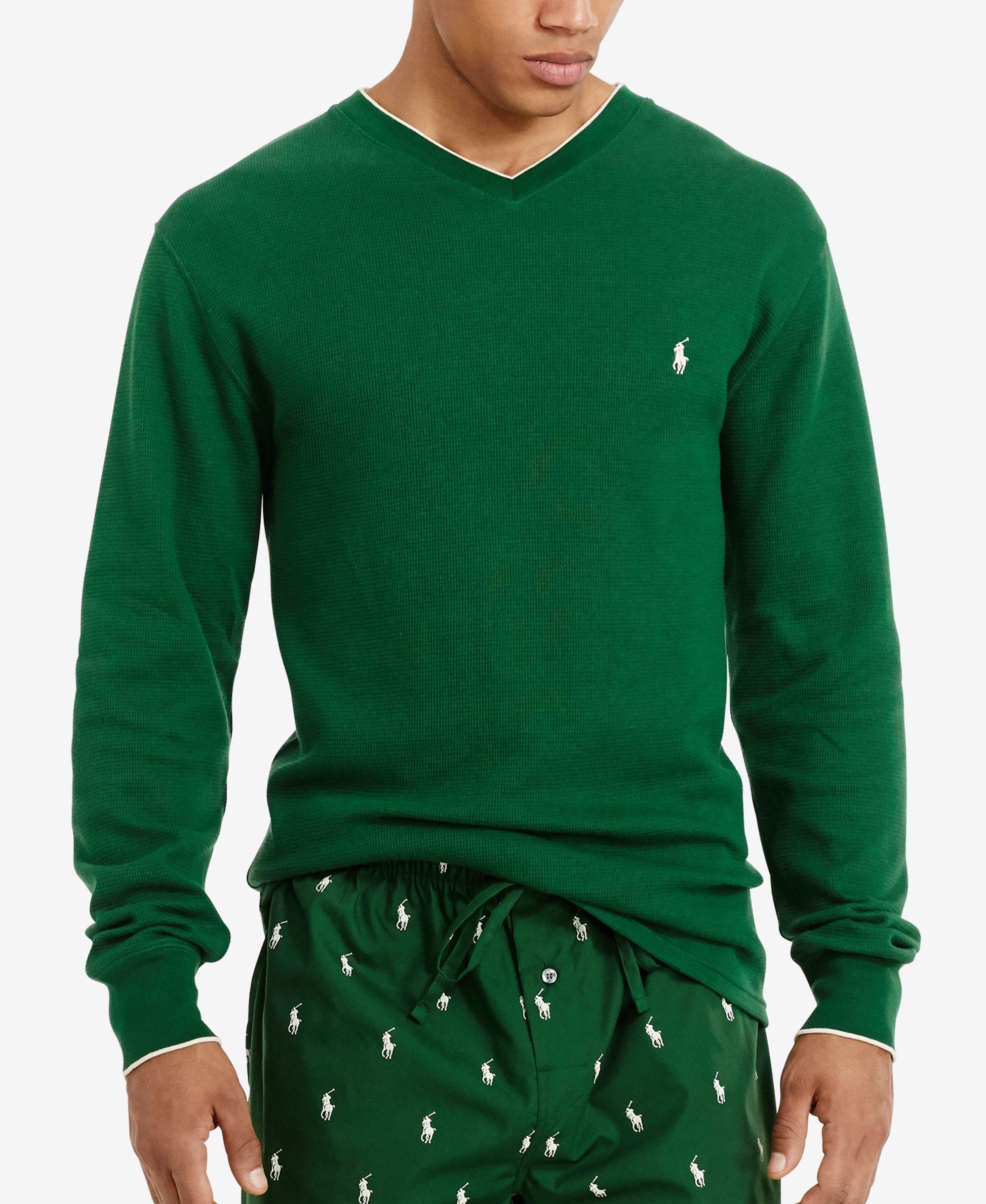 Polo Ralph Lauren Mens Tipped Thermal V Neck Shirt Kerrie