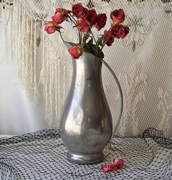 Vintage Pewter Pitcher Vase Royal Holland Mid by CynthiasAttic