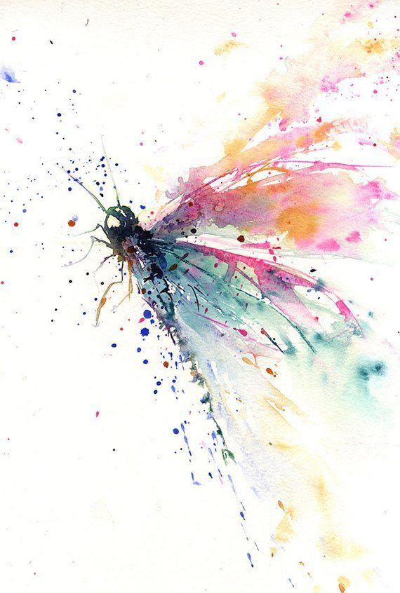 Photo of LIMITED EDITION print of my dragonfly wall art, home decor, nursery art, wildlife animal art. hand signed, illustration, animal art