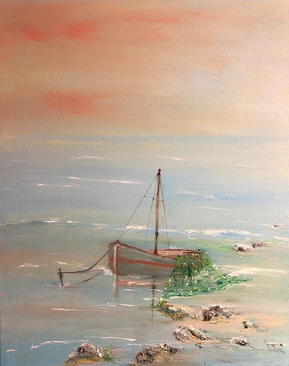 The Lonely Little Boat China Sea - AMO Studio - Paintings & Prints Landscapes… | ArtPal thumbnail