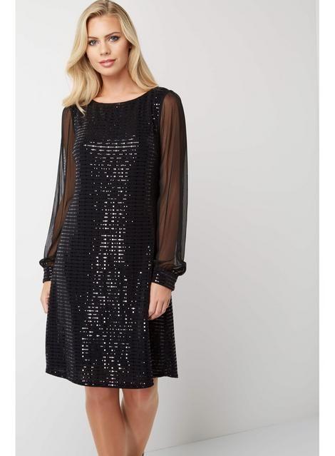 Chiffon Roman Mallas Shift Originals DressProducts Sleeve Black OXnwk80P