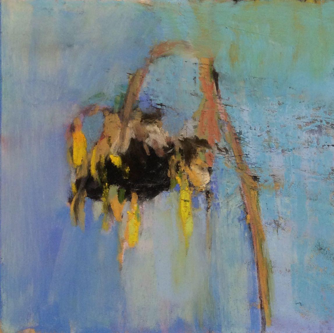 """Sunflower (Morte). 2016. Pastel, Dry Ground & Oil. 7"""" x 7."""" Casey Klahn."""