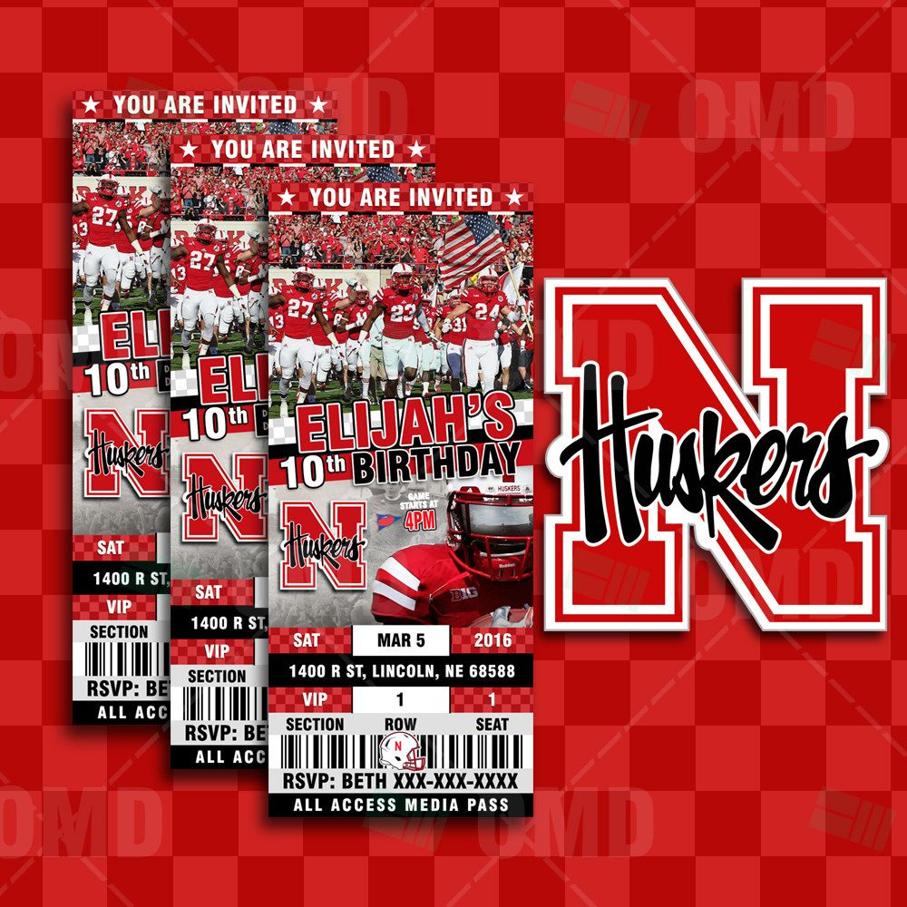 2.5x6 Nebraska Cornhuskers Sports Party Invitations | Party Ideas ...