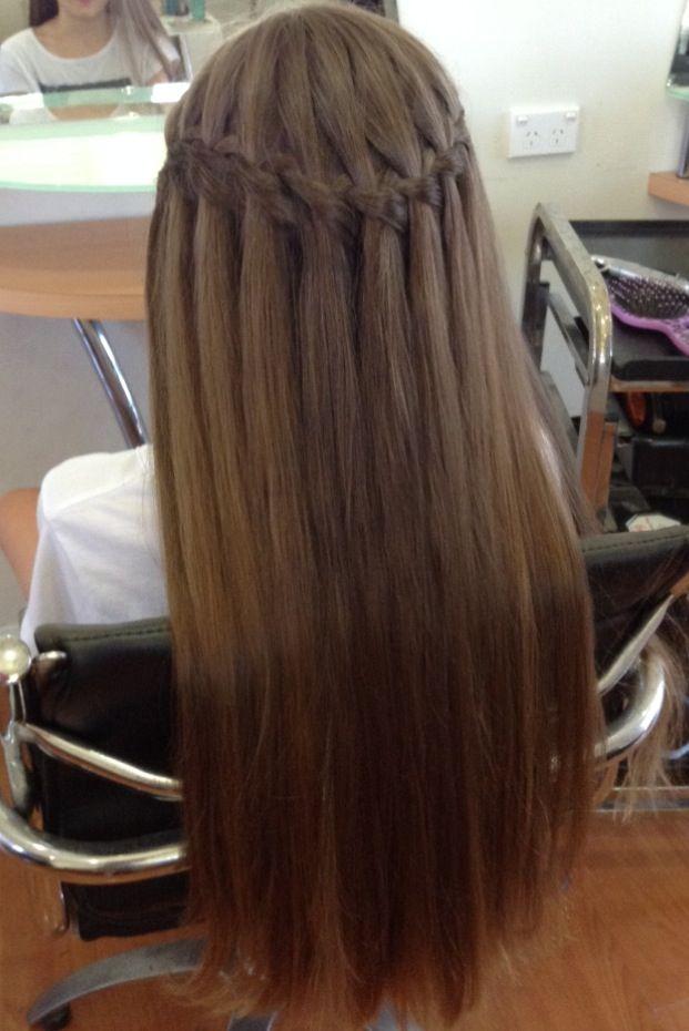 Pin By Raegan Booker On Hair Styles Waterfall Hairstyle Straight Prom Hair Straight Hairstyles