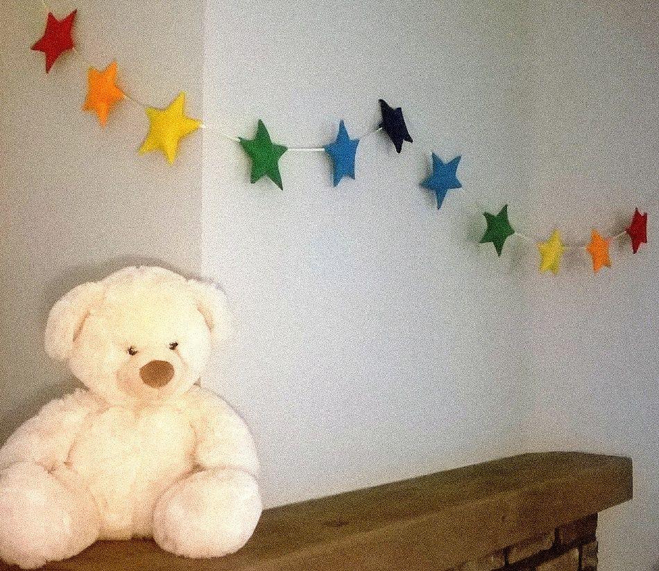 Felt Rainbow Stars Garland Banner Bunting Nursery Decor Birthday Living