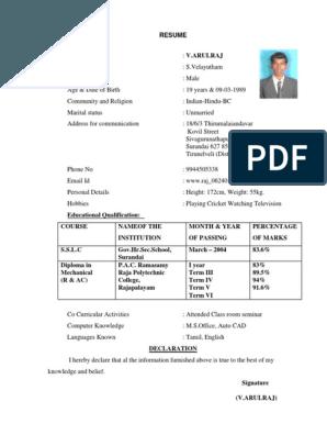 Resume 2010 Full2 Pdf Biodata Format Bio Data Biodata Format Download