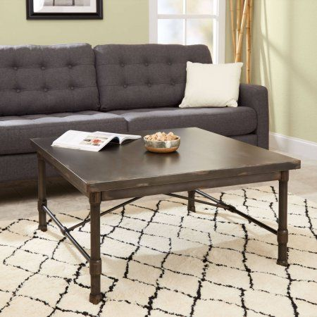 Silverwood Oxford Industrial Collection Square Coffee Table, Brown