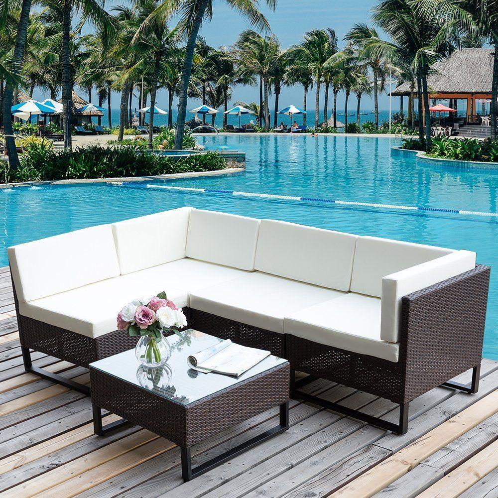Amazon Com Merax 5 Pc Indoor Outdoor Wicker Sofa Cushioned