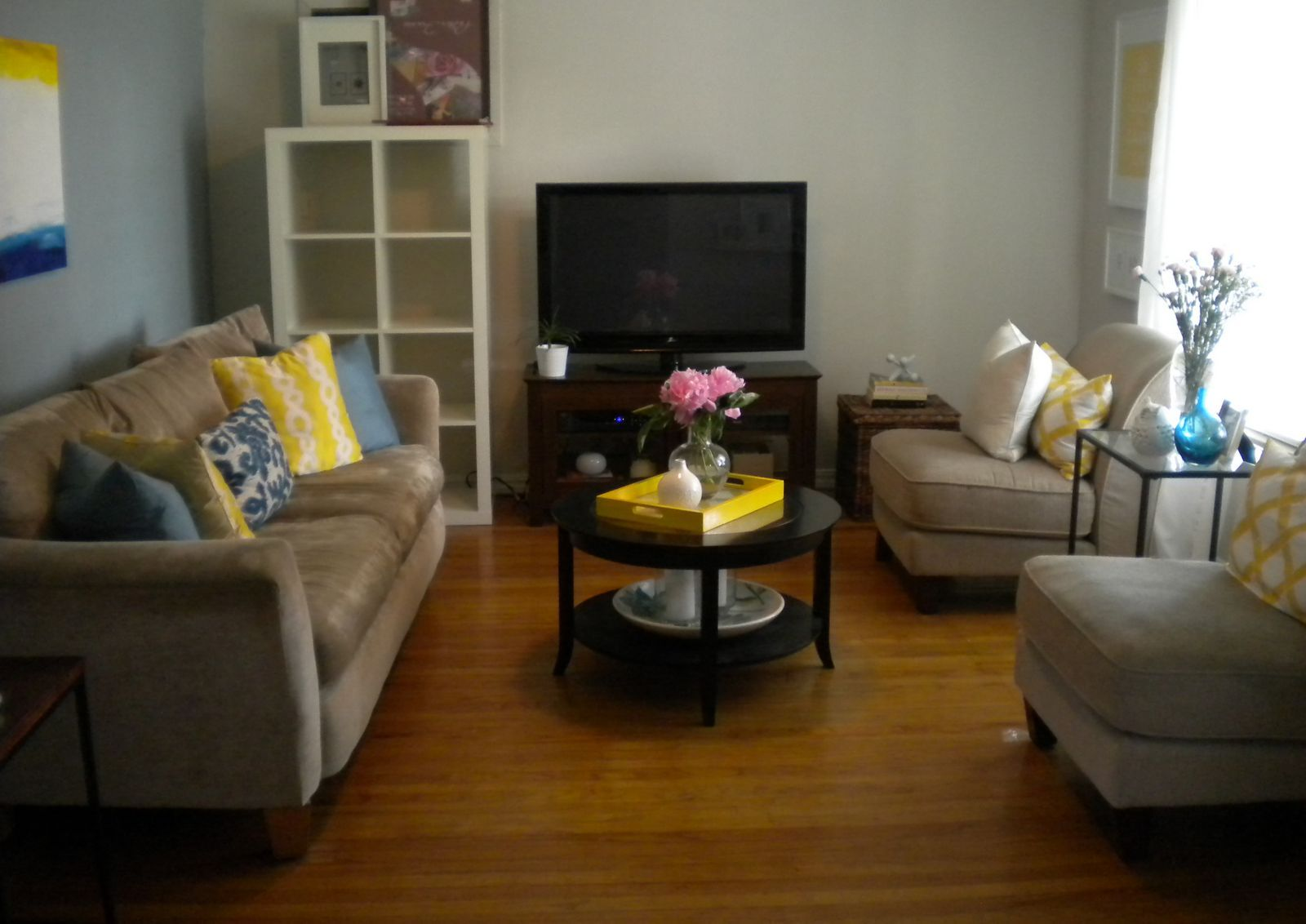 Navy blue yellow living room Add a blue rug and yellow curtains