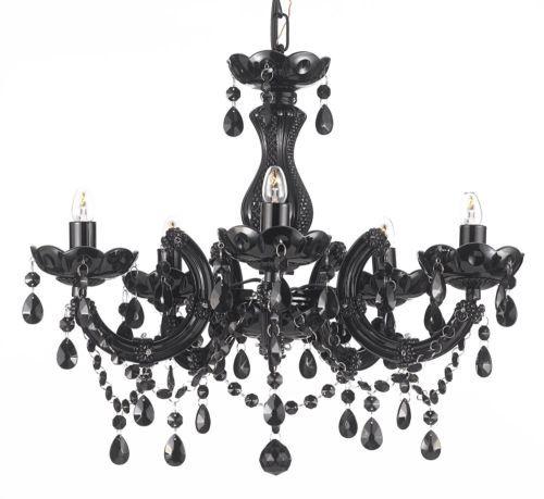Jet black chandelier lighting crystal 18x16 5lts fixture pendant jet black chandelier lighting crystal 18x16 5lts fixture pendant ceiling lamp ebay aloadofball Choice Image