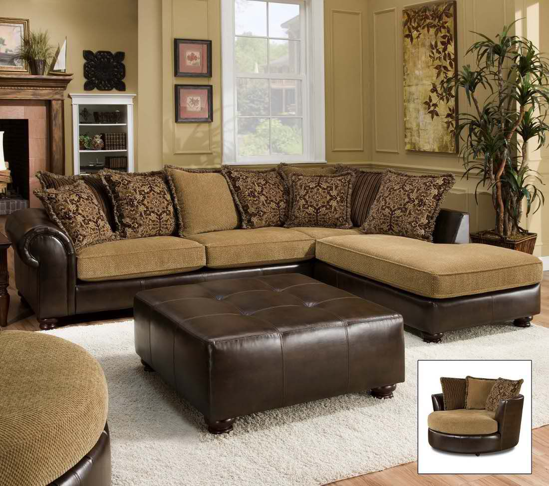 Leather Fabric Combo Sectional Living Room Leather Leather