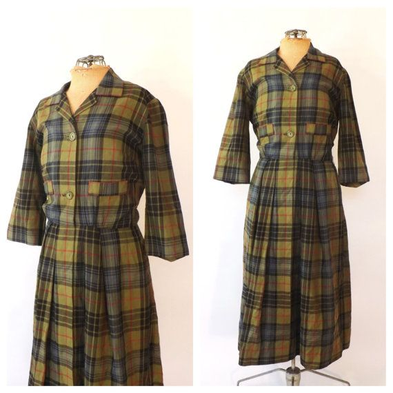 Label: Tailored by McMullen for Lord & Taylor sports shop Era: 50s / 60s Army green plaid Fabric feels like a soft wool--almost like flannel Fits