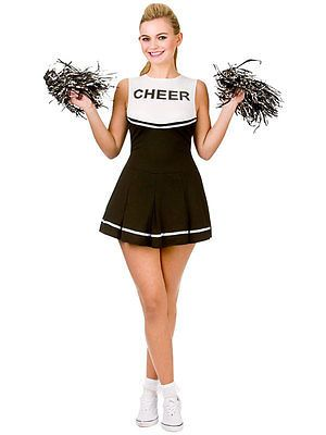 19e1e962be61 Adult high school #musical #cheerleader fancy dress black #white costume  & pom